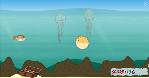Cippi pufferfish game spiral static website design for Farting fish game